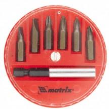 Набор бит, магнитный адаптер для бит, сталь 45Х, 7 предметов, пластиковый кейс Matrix (11392)