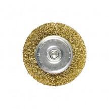 Щетка для дрели Matrix 50 мм, плоская со шпилькой, латунированная витая проволока (74444)