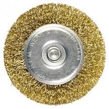 Щетка для дрели Matrix 100 мм плоская со шпилькой, латунированная витая проволока (74450)